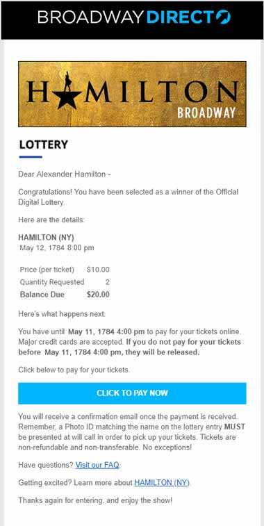 Hamilton Lottery Screenshot