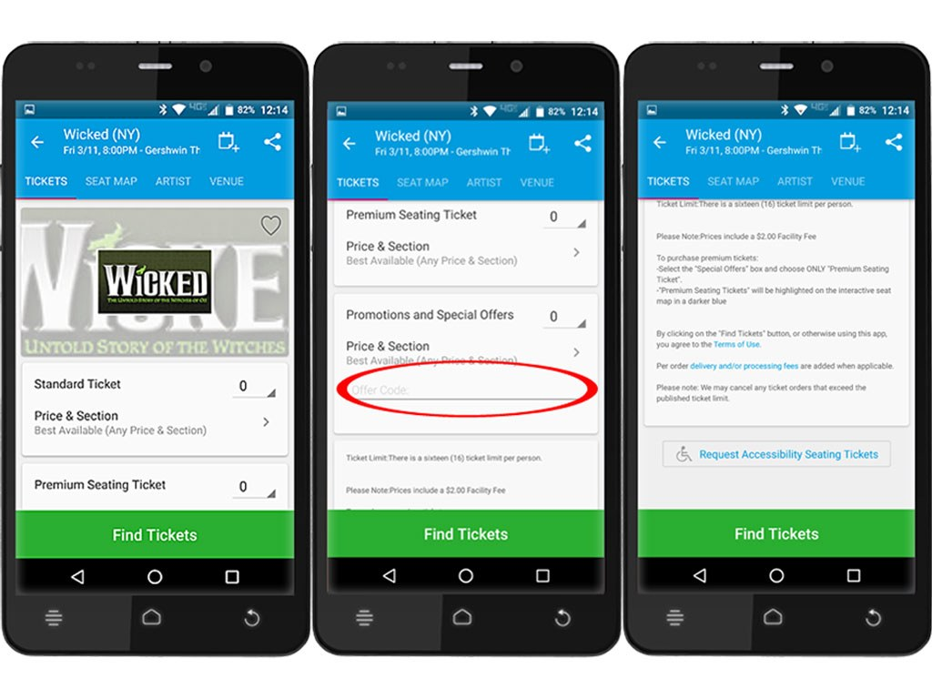 Ticketmaster App on Android Phone