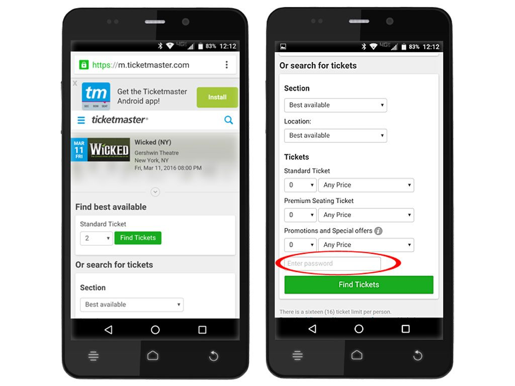 Ticketmaster Android Web Browser