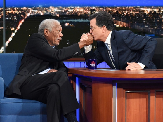 Morgan Freeman joins Stephen Colbert on The Late Show