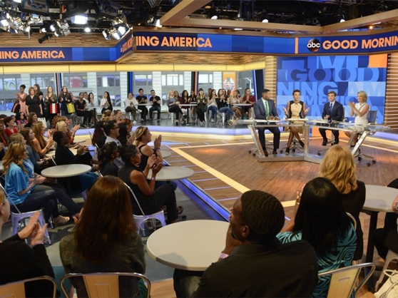 Good Morning America tapes in front of a live studio audience