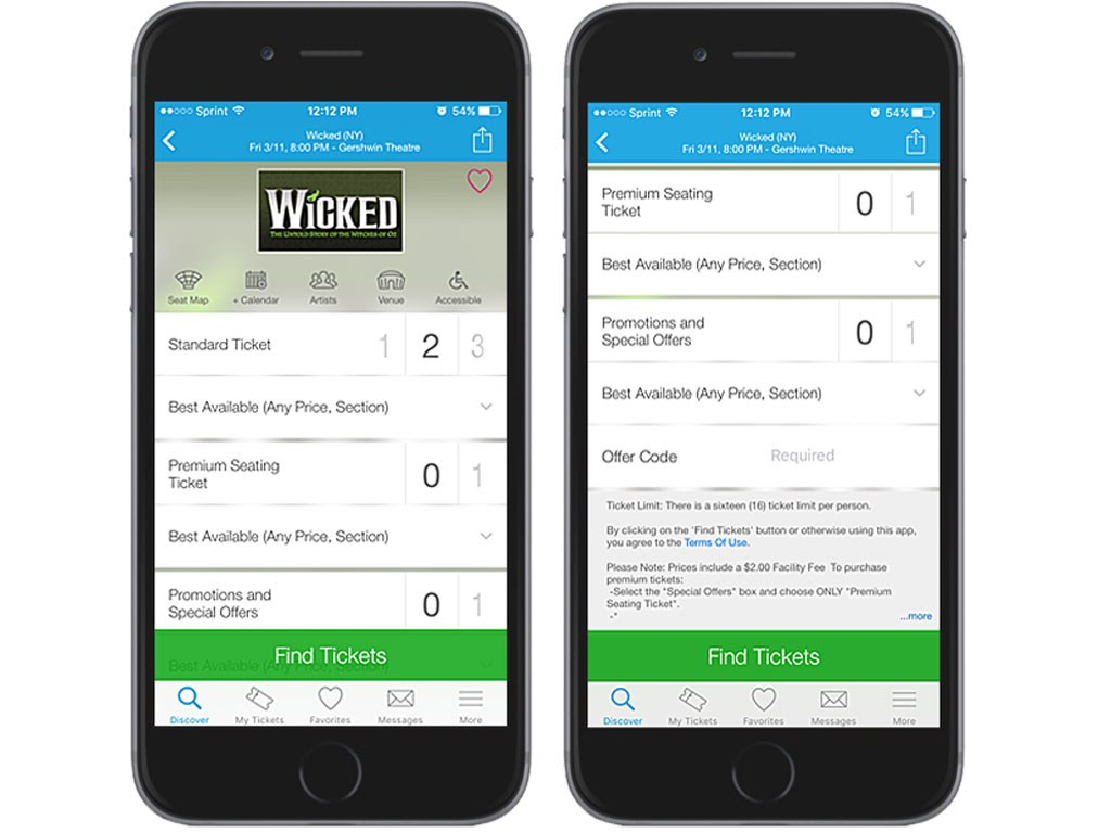 Ticketmaster on iPhone 6 Tickemaster App