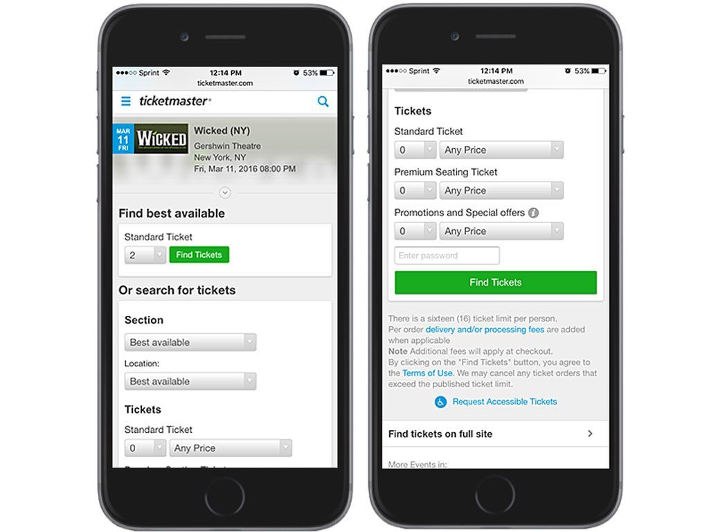 Ticketmaster on iPhone 6 browser