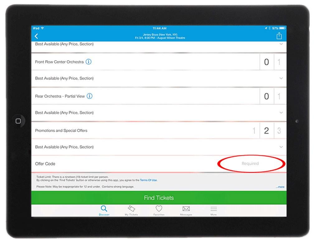 Ticketmaster App on iPad