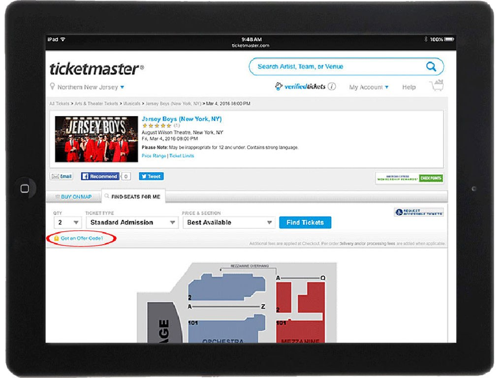 Ticketmaster on iPad Safari Browser