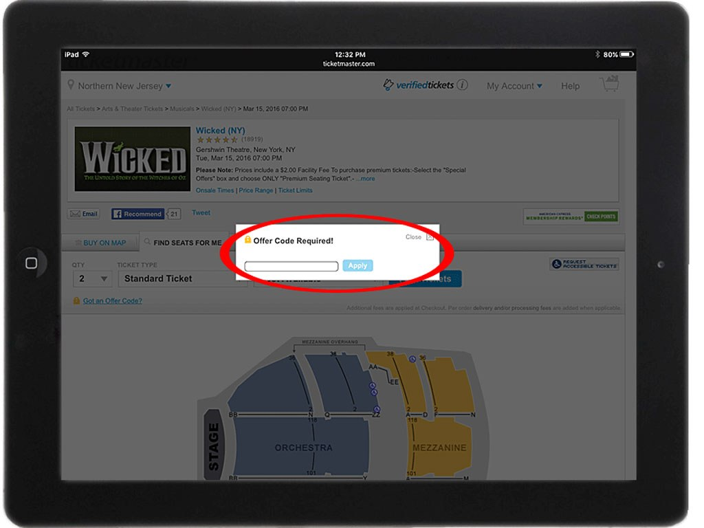 Ticketmaster on iPad Safari browser (Offer Code Pop-Up)
