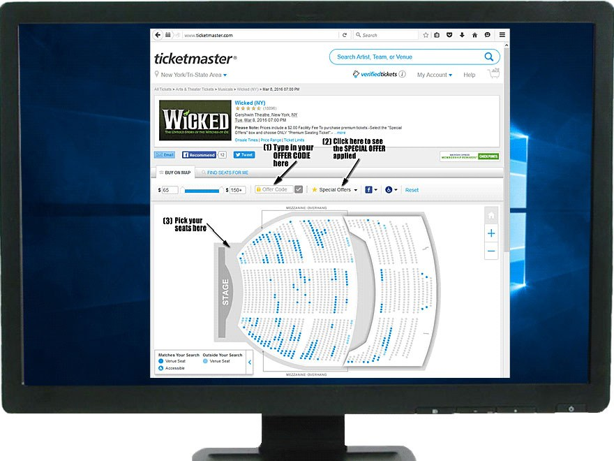 Ticketmaster seat finder page