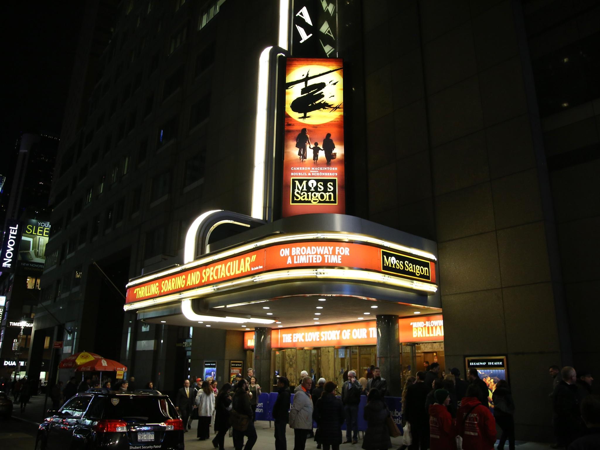 Misssaigon Broadway Theatre Marquee Night Time Shot