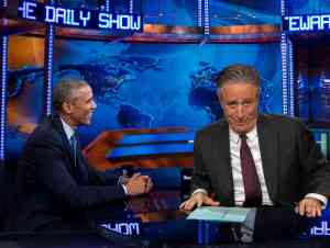 President Barack Obama sit down with Jon Stewart on the Daily Show