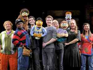 The puppets and people of the Avenue Q cast