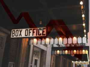 Broadway box office red down arrow chart