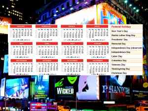 Broadway Show Holiday Calendar
