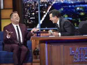 James Corden and Stephen Colbert on The Late Show