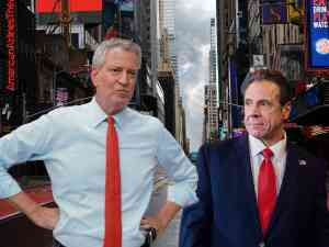 Broadway Reopening Bill di Blasio and Andrew Cuomo