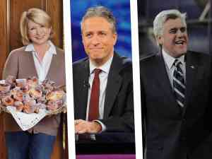 Martha Stewart, Jon Stewart, and Jay Leno are among the most popular television hosts ever