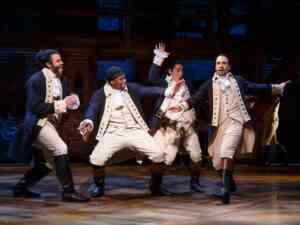 Four main characters at Hamilton Broadway