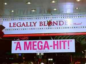 Legally Blonde marquee at the Palace Theater in NYC