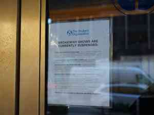 Broadway Shows Suspended Sign Shubert