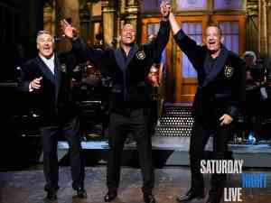 "Alec Baldwin, Dwayne ""The Rock"" Johnson, and Tom Hanks appear on Saturday Night Live"