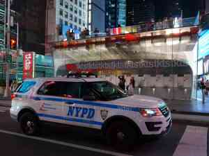Times Square TKTS Ticket Stand with Police Car