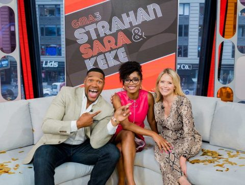 Strahan, Sara, and Keke on Set