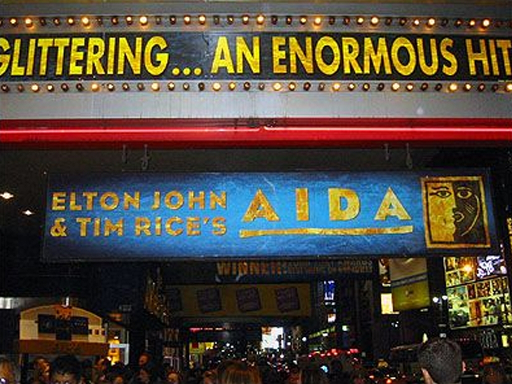 Aida marquee at the Palace Theatre in NYC