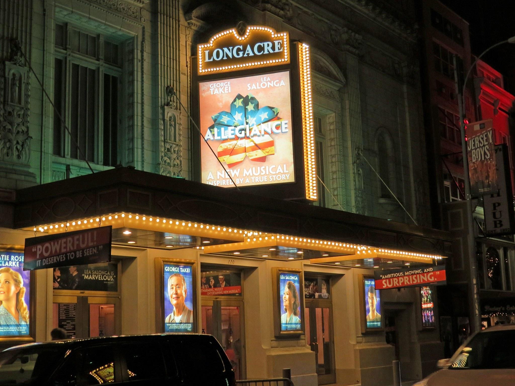 Allegiance Broadway Longacre Theatre Marquee