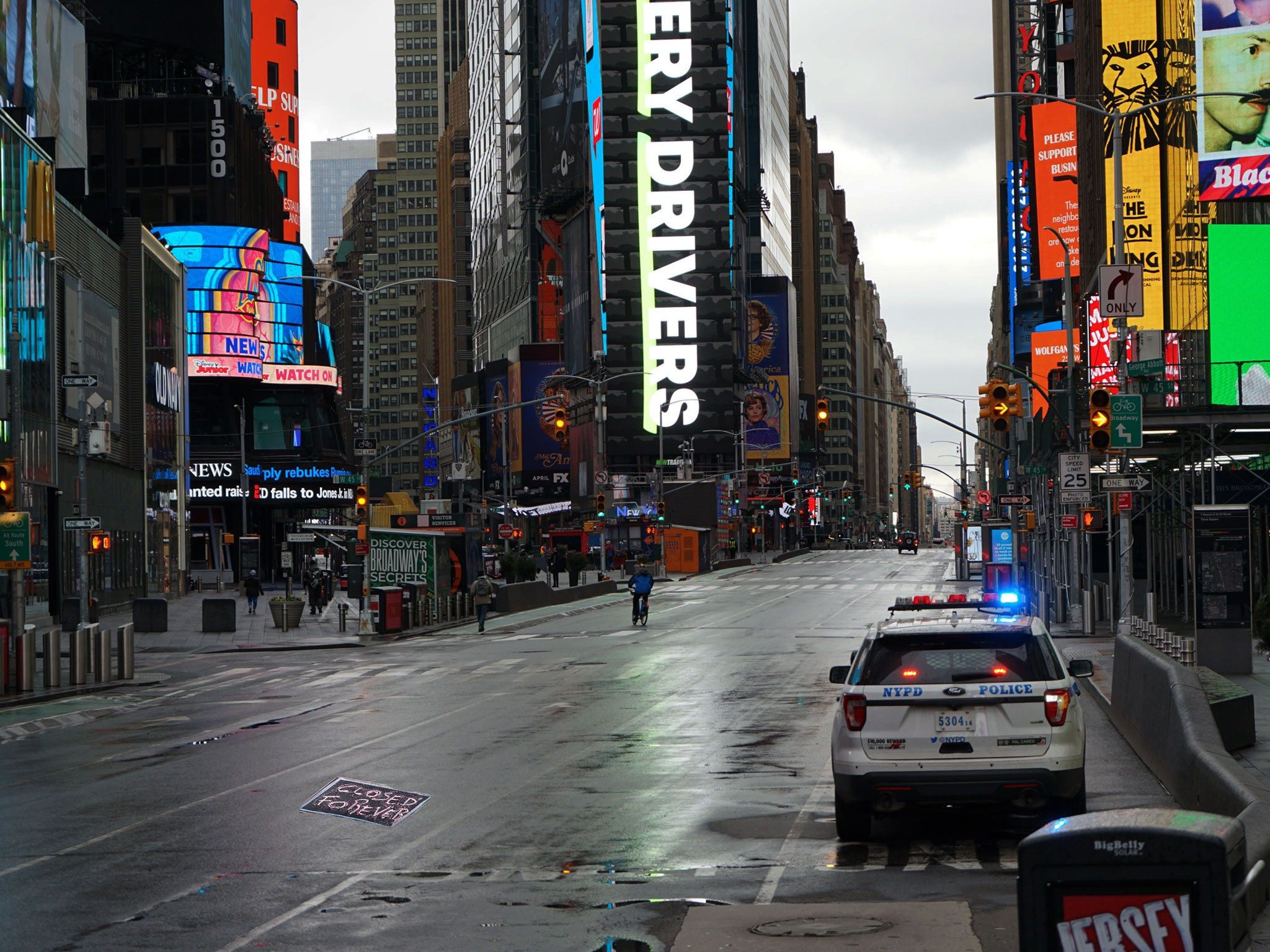 Broadway and Times Square Empty