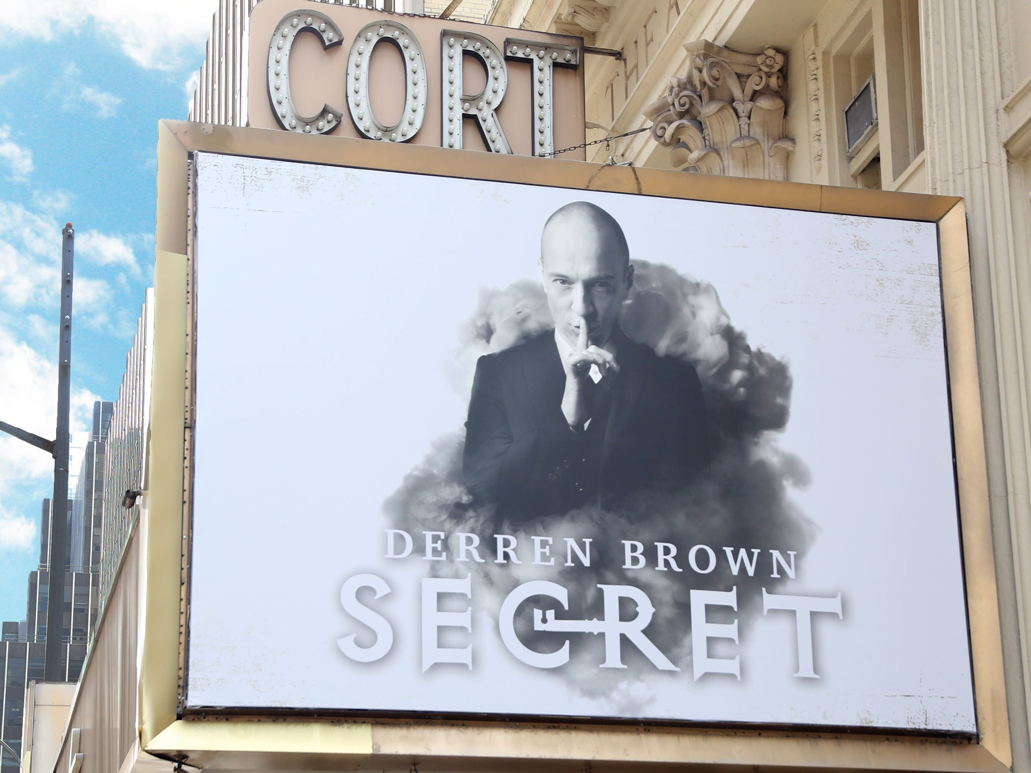 Derren Brown: Secret Broadway Cort Theatre Marquee