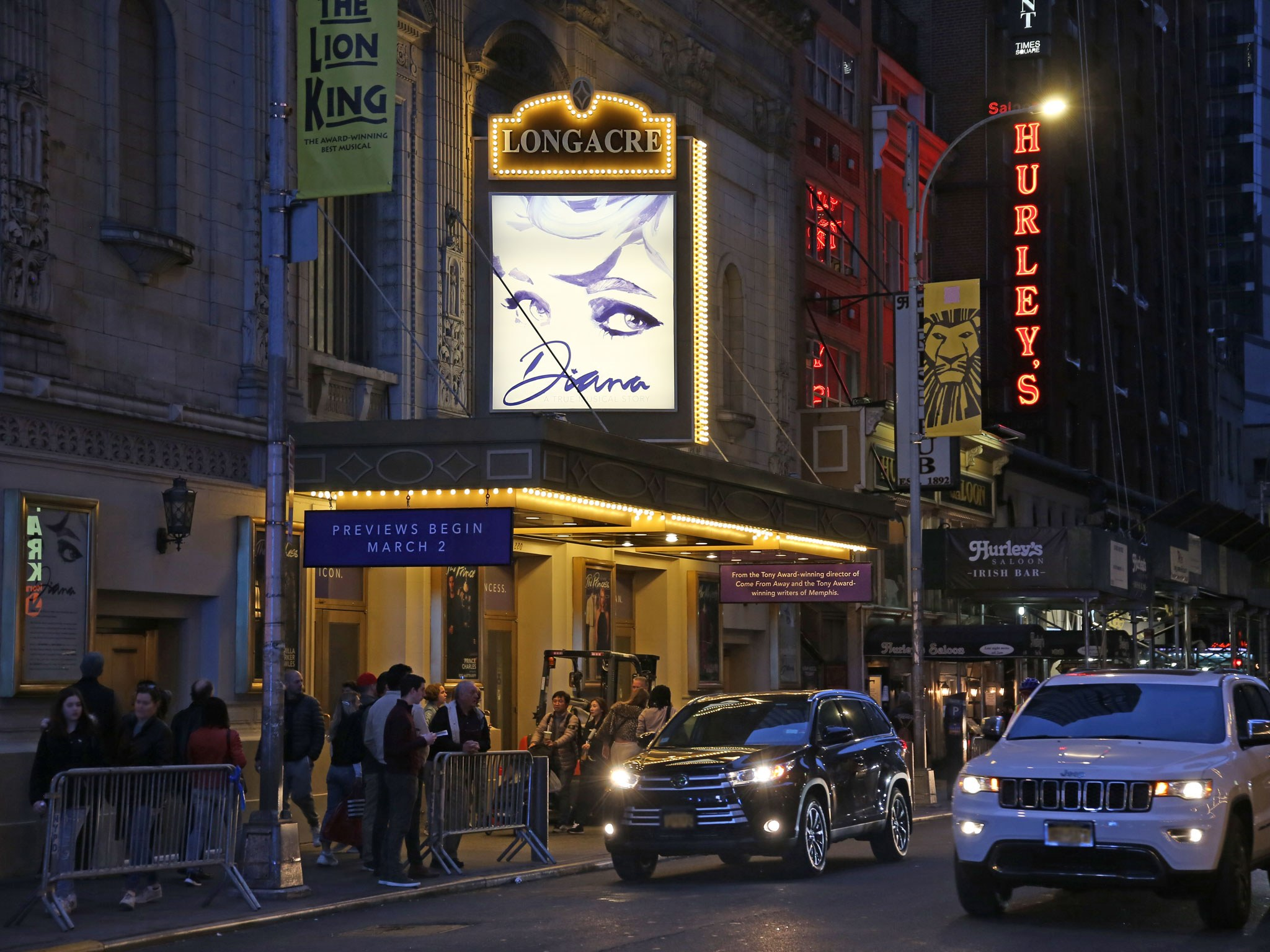 Diana the musical at the Longacre Theatre Marquee