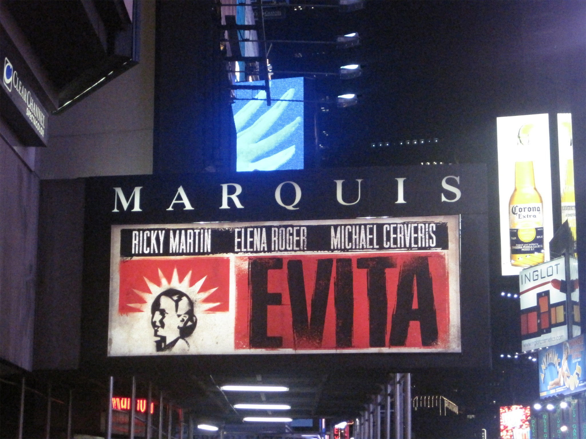 Evita marquee at the Marquis Theatre in NYC