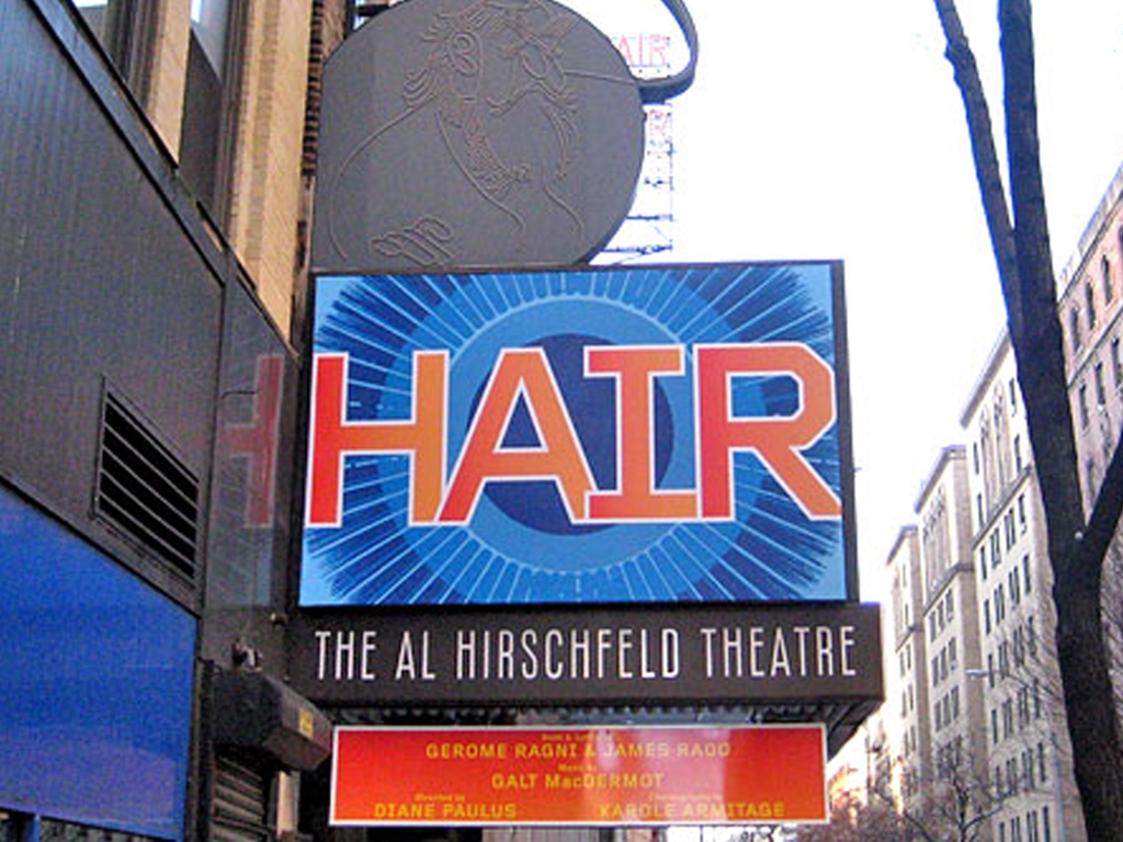 Hair marquee at the Al Hirschfeld Theatre in NYC