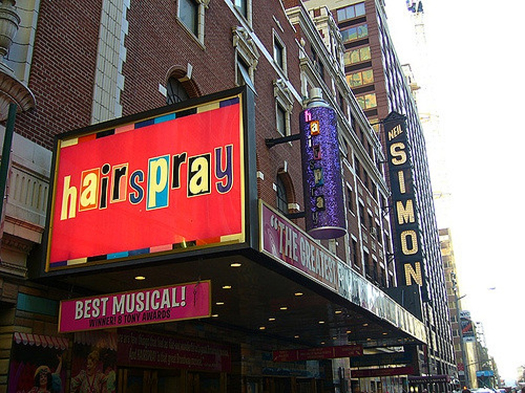 Hairspray marquee at the Neil Simon Theatre in NYC