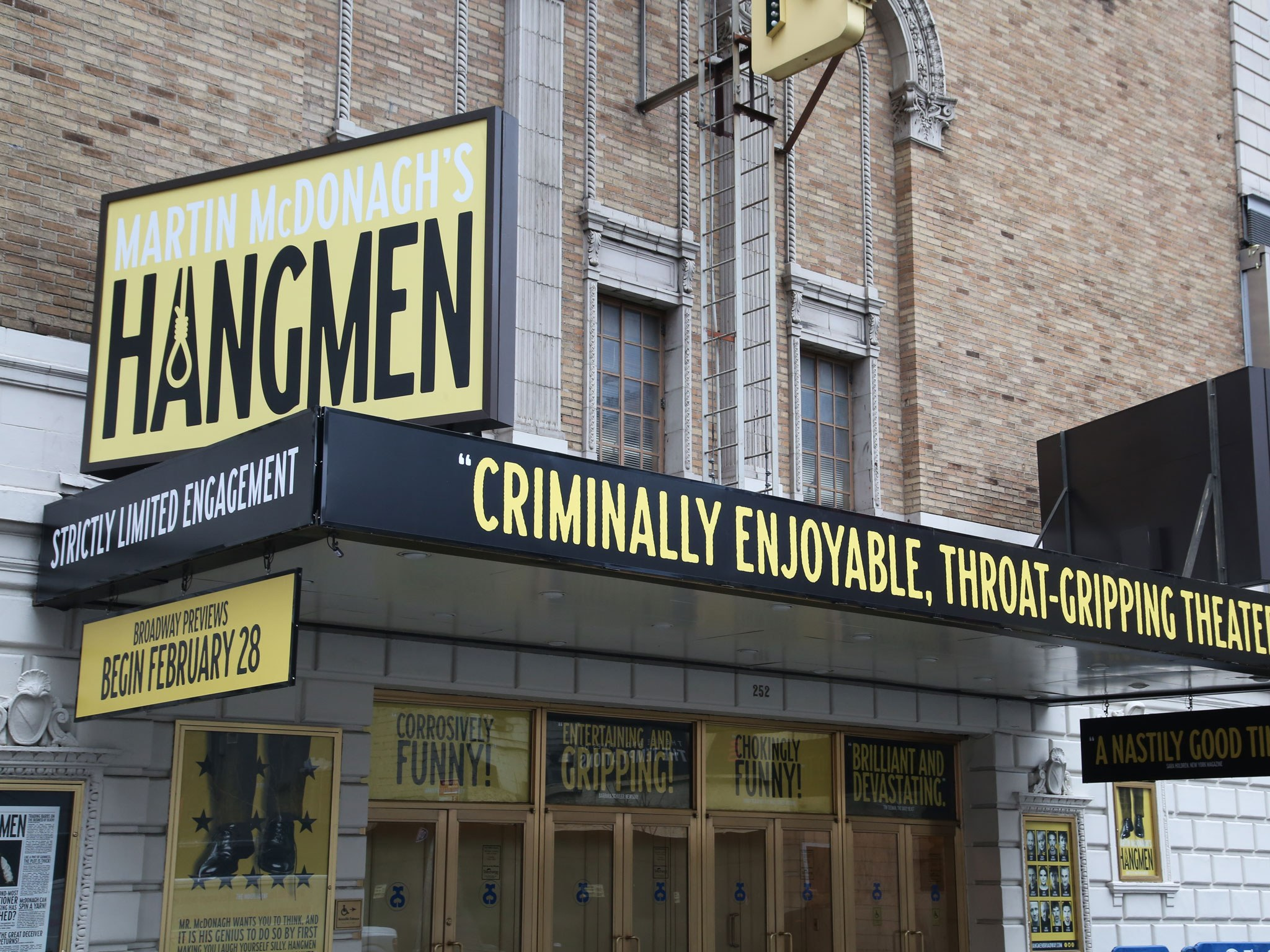 Hangmen On Broadway Golden Theatre Marquee