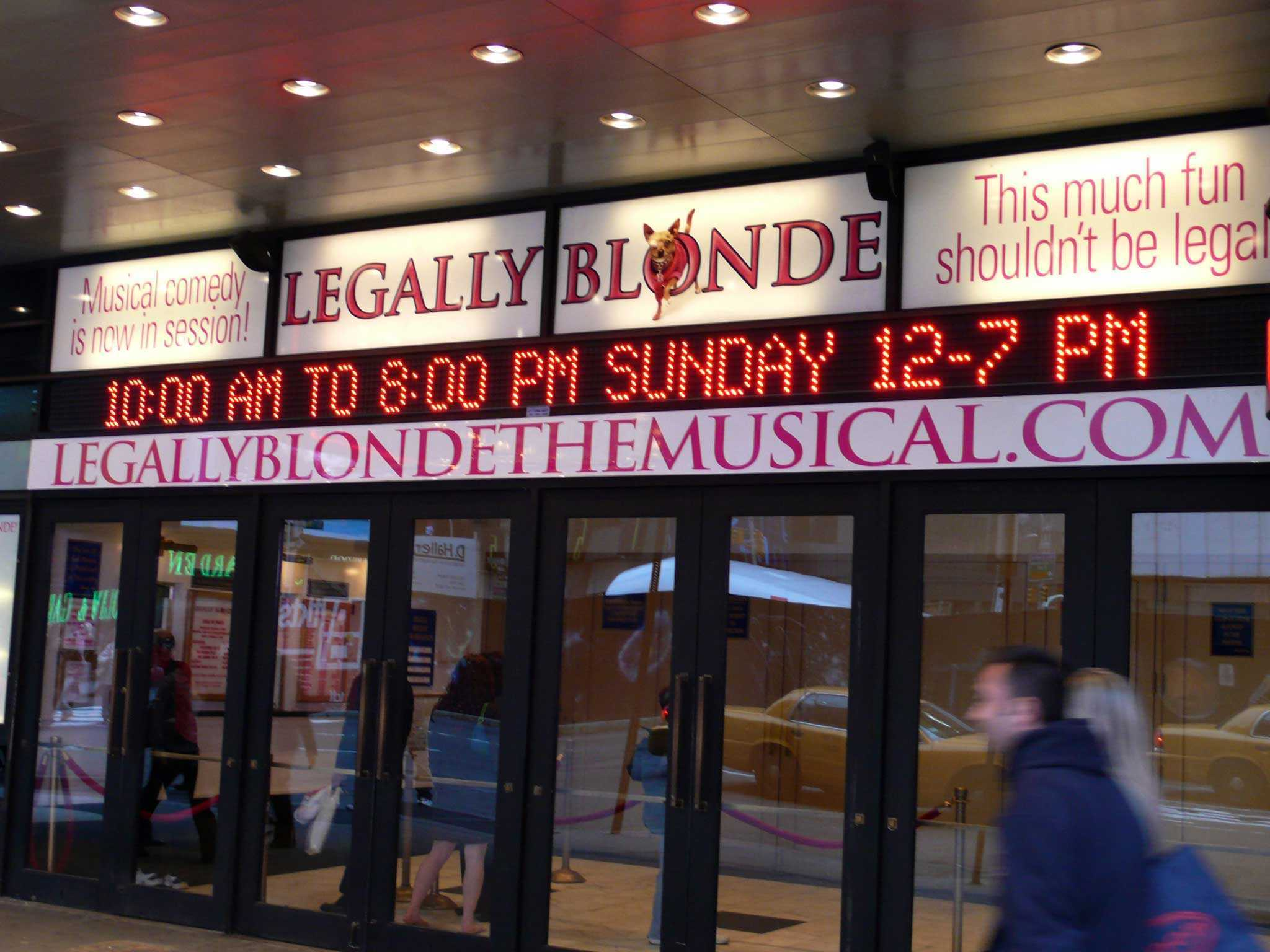 Legally Blonde Broadway Theatre Marquee
