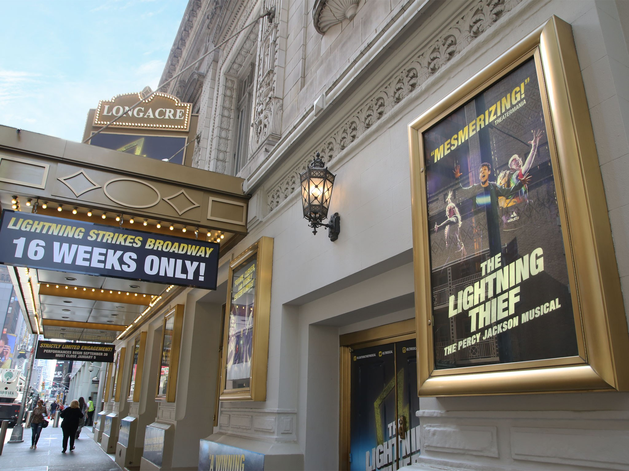 The Lightning Thief Broadway Longacre Theatre Marquee
