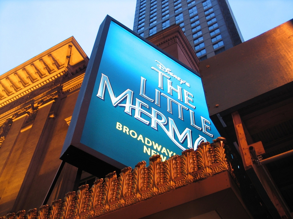 The Little Mermaid marquee at the Lunt-Fontanne Theatre in NYC