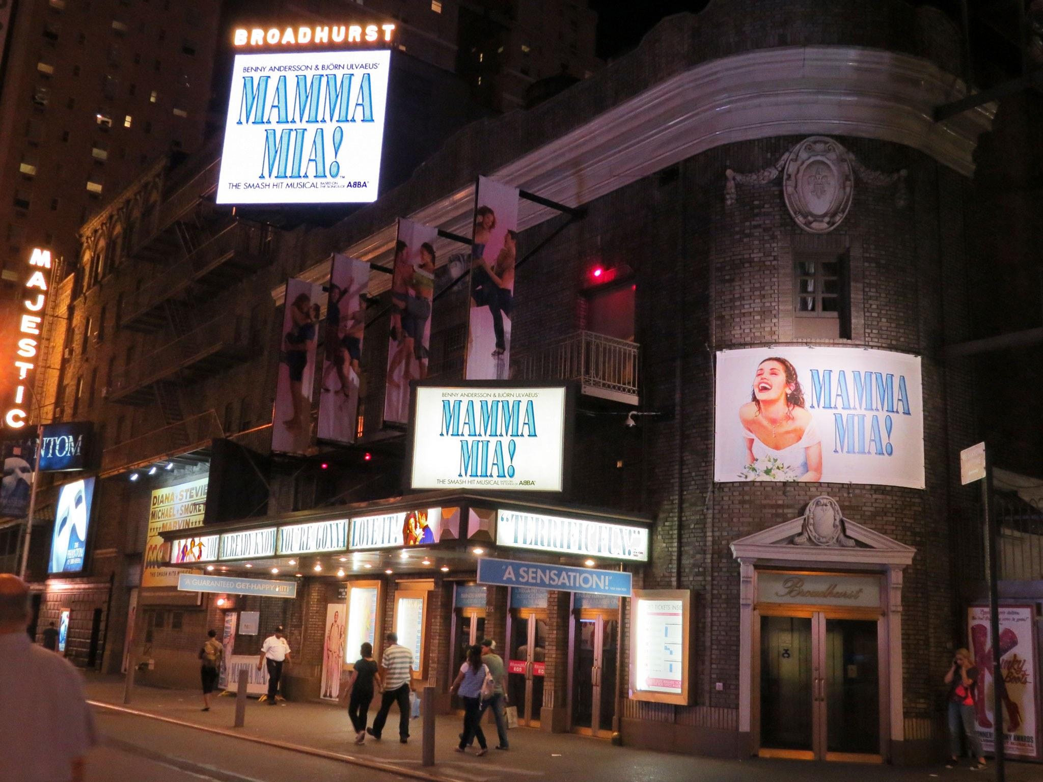 Mamma Mia Broadway Theatre Marquee