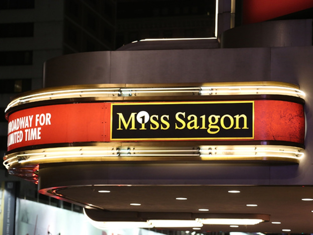Miss Saigon marquee at the Broadway Theatre in NYC