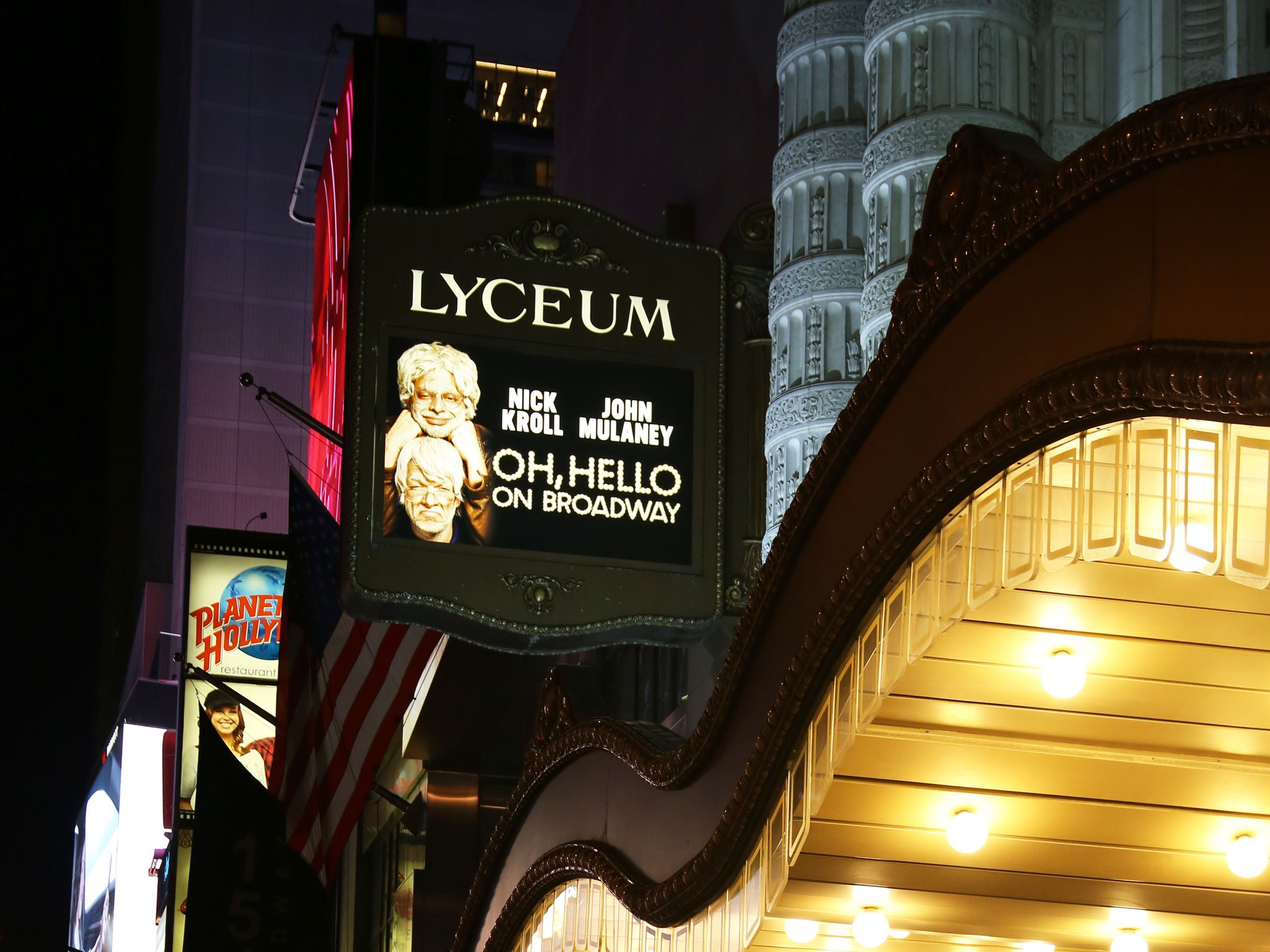 Oh, Hello on Broadway Marquee