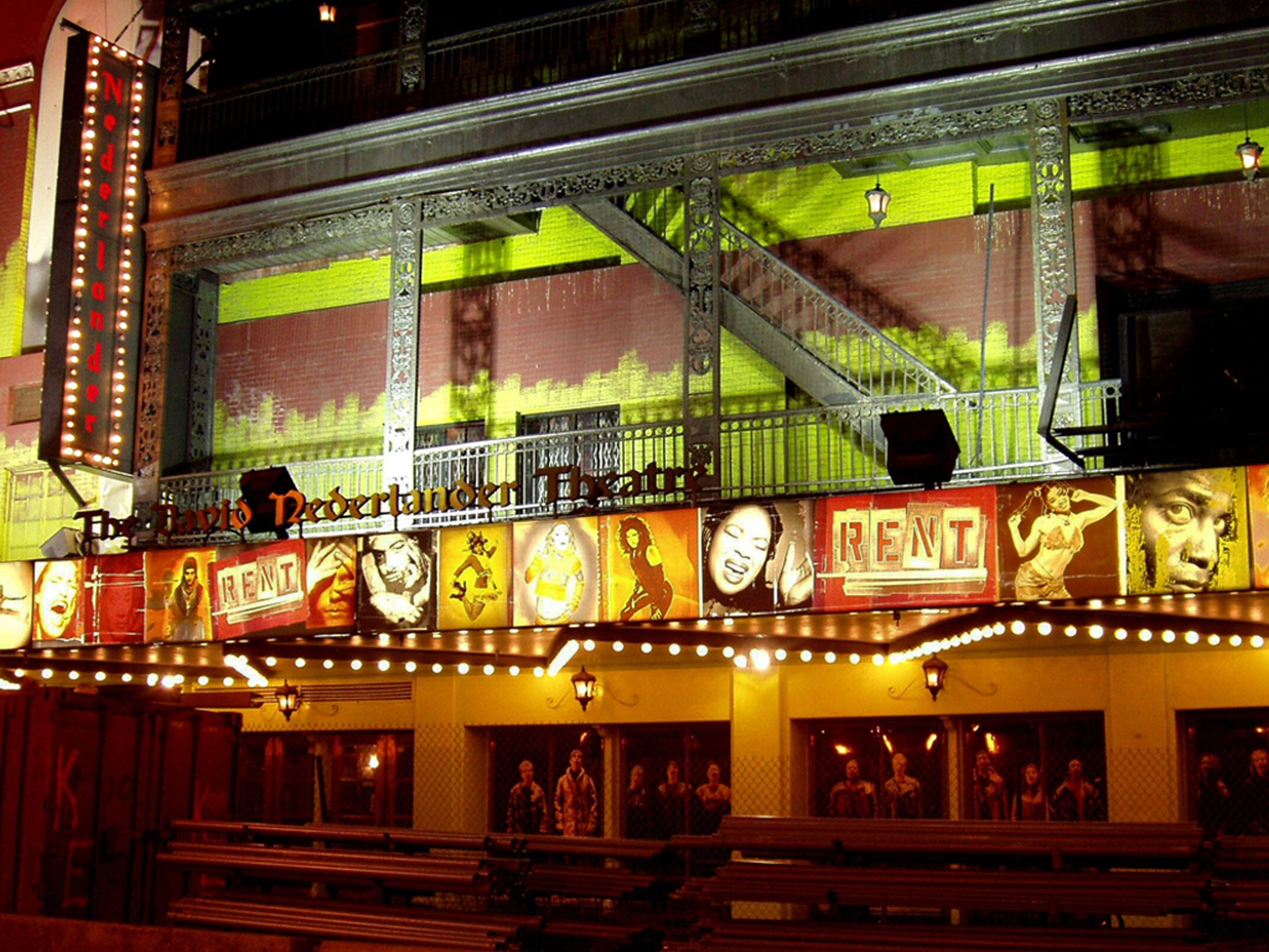 Rent on Broadway Marquee at the Nederlander Theatre