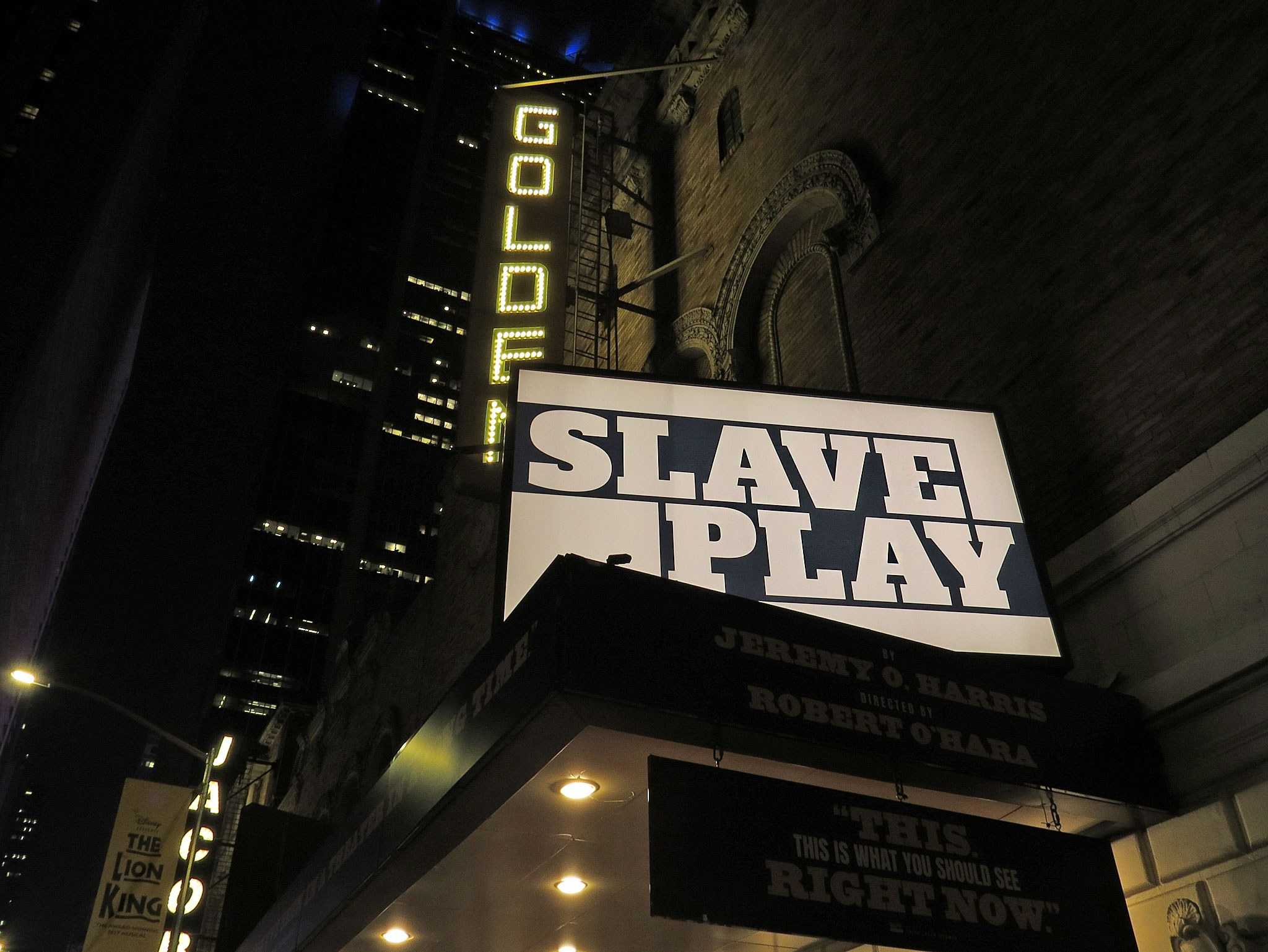 Slave Play Marquee at the John Golden Theatre