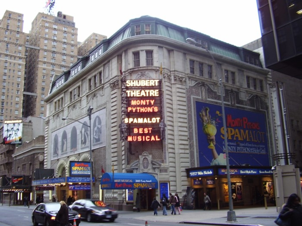 Spamalot Marquee at the Shubert Theatre in NYC