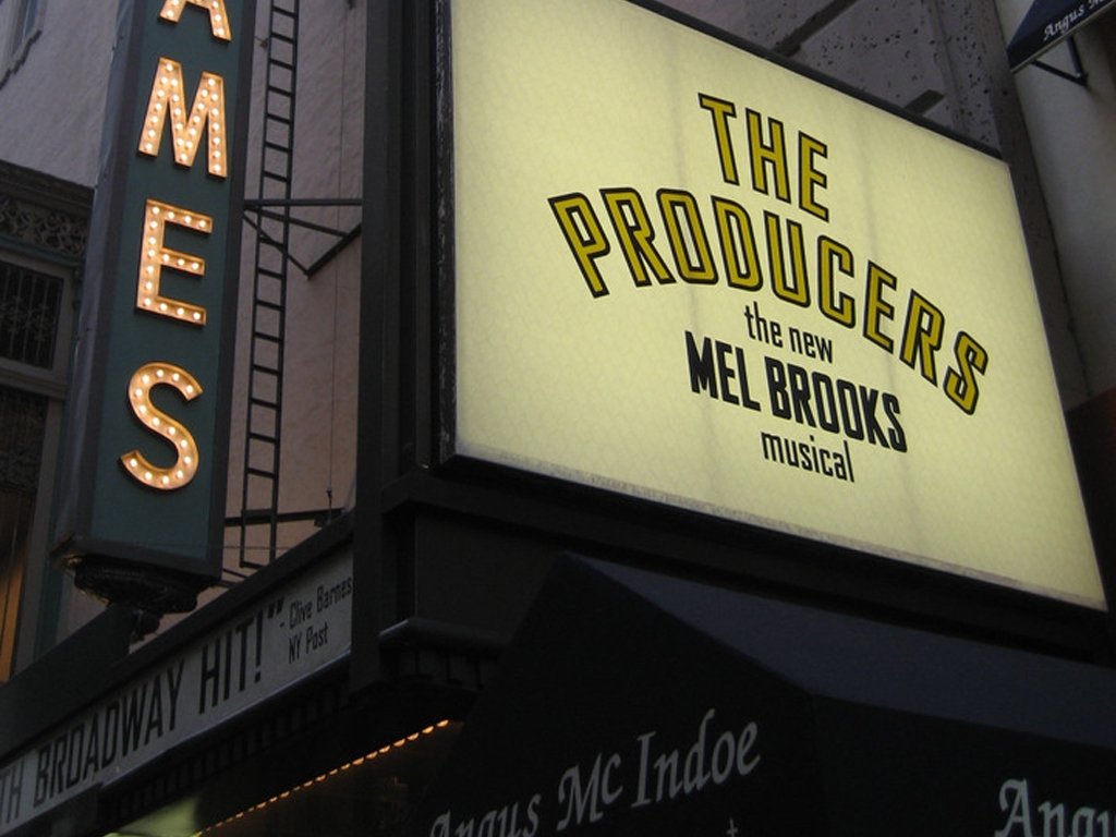 The Producers marquee at the St. James Theatre in NYC