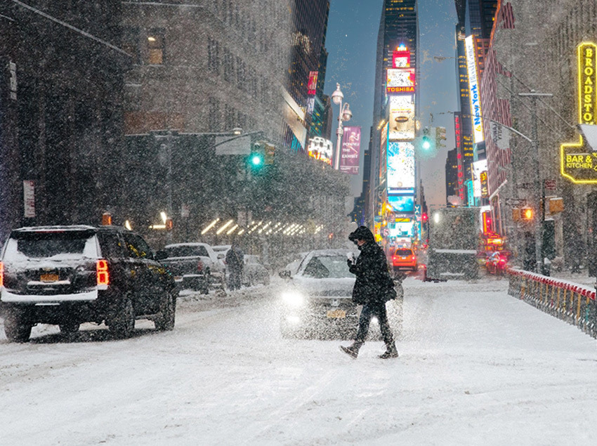 Times Square in NYC During A Winter Storm Blizzard