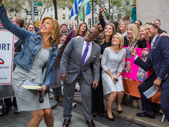 Hosts of the Today Show greet fans on the street