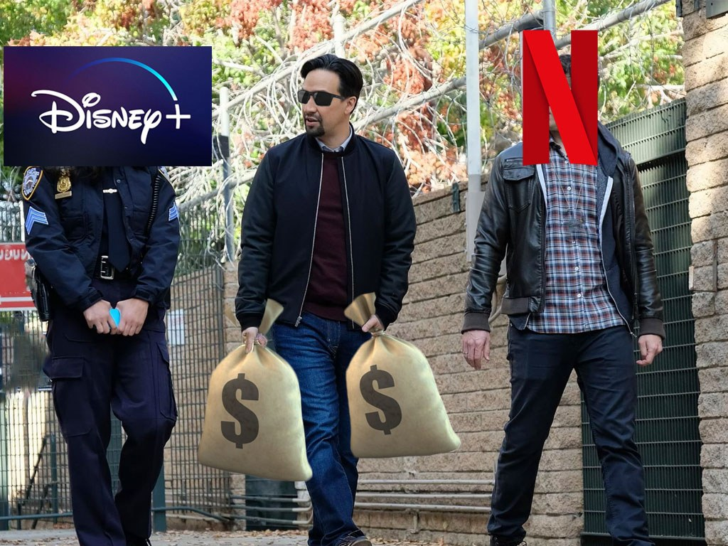 Lin Manuel Miranda Walking With Netflix and Disney+
