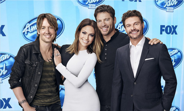 Harry Connick Jr as a judge on American Idol With Jennifer Lopez and Keith Urban and Ryan Seacrest