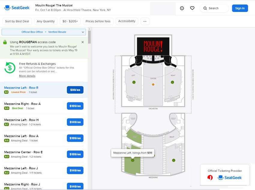 Seatgeek Ticket Buying Interface