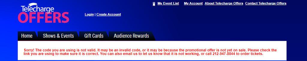 Telecharge Offers Error Code